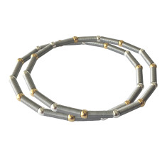 Satellite bracelet with silver and gold beads