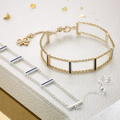 Matchstick Blue Lapis Bracelet (Sterling Silver & Gold Vermeil)