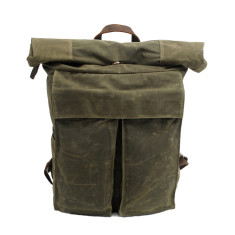 Green canvas waterproof travel backpack/weekend bag