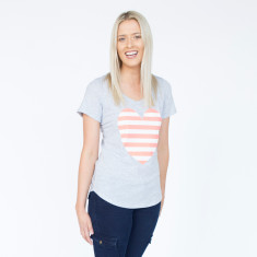 Striped Heart Mid Grey Marle, Coral & White Cotton Tee