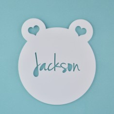 Monochrome Acrylic Personalised Kids' Teddy Bear Bedroom Door Sign