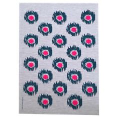Ikat spot linen tea towel in navy and neon pink (natural or off-white)
