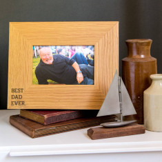 Best Dad Ever oak wooden photo frame