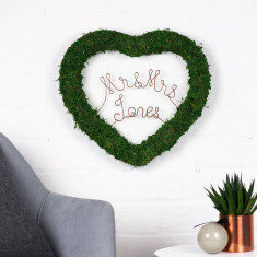 Personalised Love Message Moss Heart