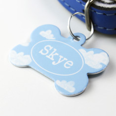 Personalised Clouds Pet Tag Bone Shaped (P59)