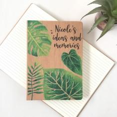 Personalised monstera leaf wood look journal/notebook