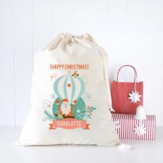 Hot air balloon personalised Santa sack