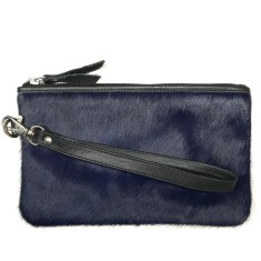 Midnight blue hide leather clutch bag