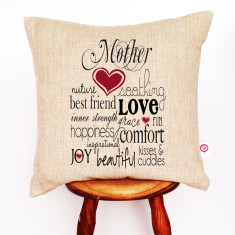 Mother text print linen cushion cover