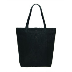 Black python and lambskin leather shopper tote