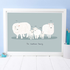 Personalised Australian Sheep And Lamb Portrait