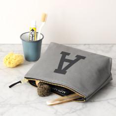 Grey Initial Wash Bag