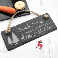 Personalised We Believe Slate Hanging Sign