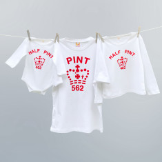 White and Red Pint and half pint t-shirt twinset