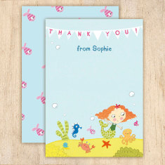 Personalised girl's mermaid thank you cards (set of 8)