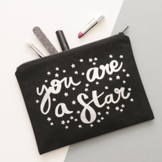 You Are A Star Black Canvas Pouch