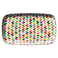 French Bull rectangular platter in ziggy pattern