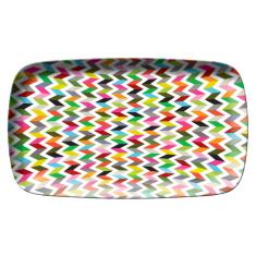French Bull rectangular platter in ziggy pattern