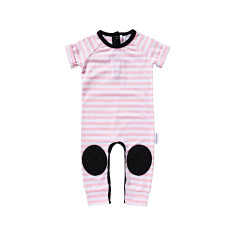 Pink Stripe Short Sleeve Crawl-suit