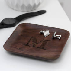 Personalised Wooden Walnut Wood Coin Tray