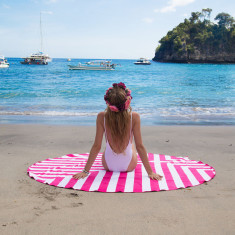 Round Towel with Carry Bag in Pink