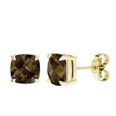 Smoky Quartz Cushion Checkerboard Yellow Gold Stud Earrings