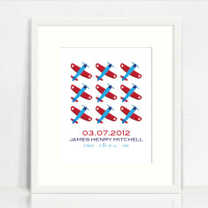 Boys' repetition personalised birth prints