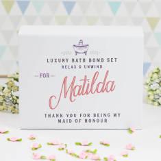 Personalised maid of honour bath bomb gift set