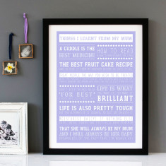Things I've Learnt From My Mum personalised print