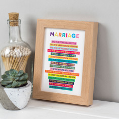 Marriage Poem In Freestanding Beech Frame