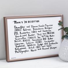 Mum job description personalised poem print