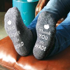 Personalised Grey Teachers Apple Socks