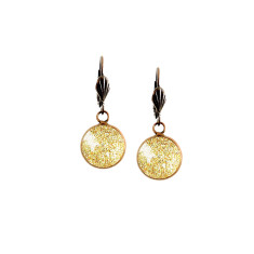 Vintage lever-back copper earrings in gold sparkles