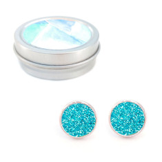 Rose gold studs and matching gift tin in turquoise sparkle