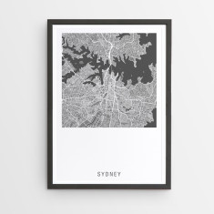 Sydney contemporary map print (various colours)