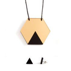 GEO necklace & earrings gift set - hexagon gold and black