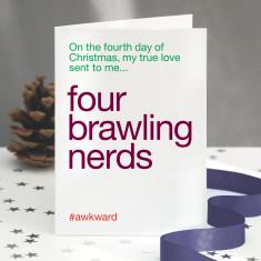 Four Calling Birds Funny Christmas Card