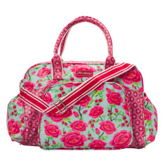 Laminated Cotton Nappy/Diaper Bag in Alexandra Sage/Beatrice Print
