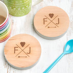 Personalised Follow Your Heart Couple's Coasters