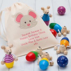 Wooden Mice Skittles and Personalised Bag