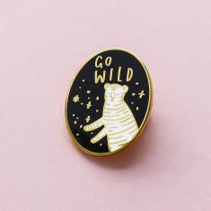 Go Wild Oval Enamel Pin