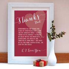Thanks dad personalised print