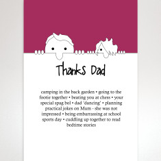 Personalised special times with dad thank you print