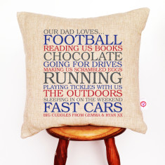 Dad's list of loves personalised cushion cover