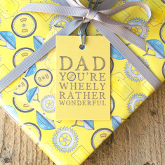 Dad you're wheely rather wonderful wrapping paper & tags set