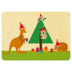 Wooden Australian animals Christmas postcard