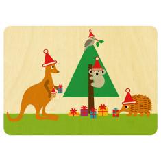 Wooden Australian animals Christmas postcard