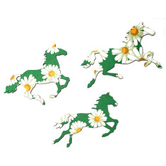 Green daisy wild horses vintage wallpaper wall plaques