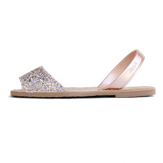 Serra leather sandals in peach glitter