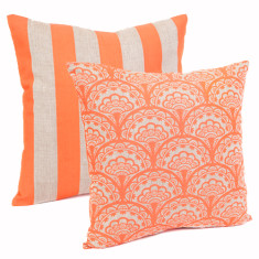 Dandelion & stripe cushion in neon coral